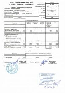 Отчет об изменениях капитала 2010